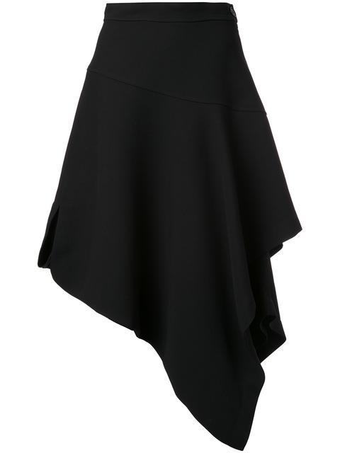Asymmetric-hem draped cotton-poplin skirt