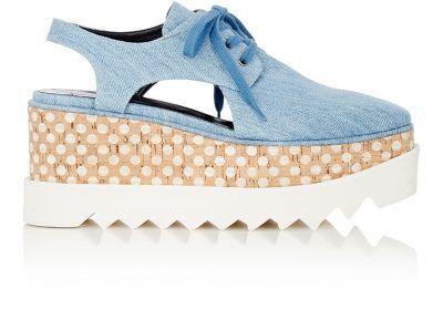 Elyse cut-out denim platform derby shoes
