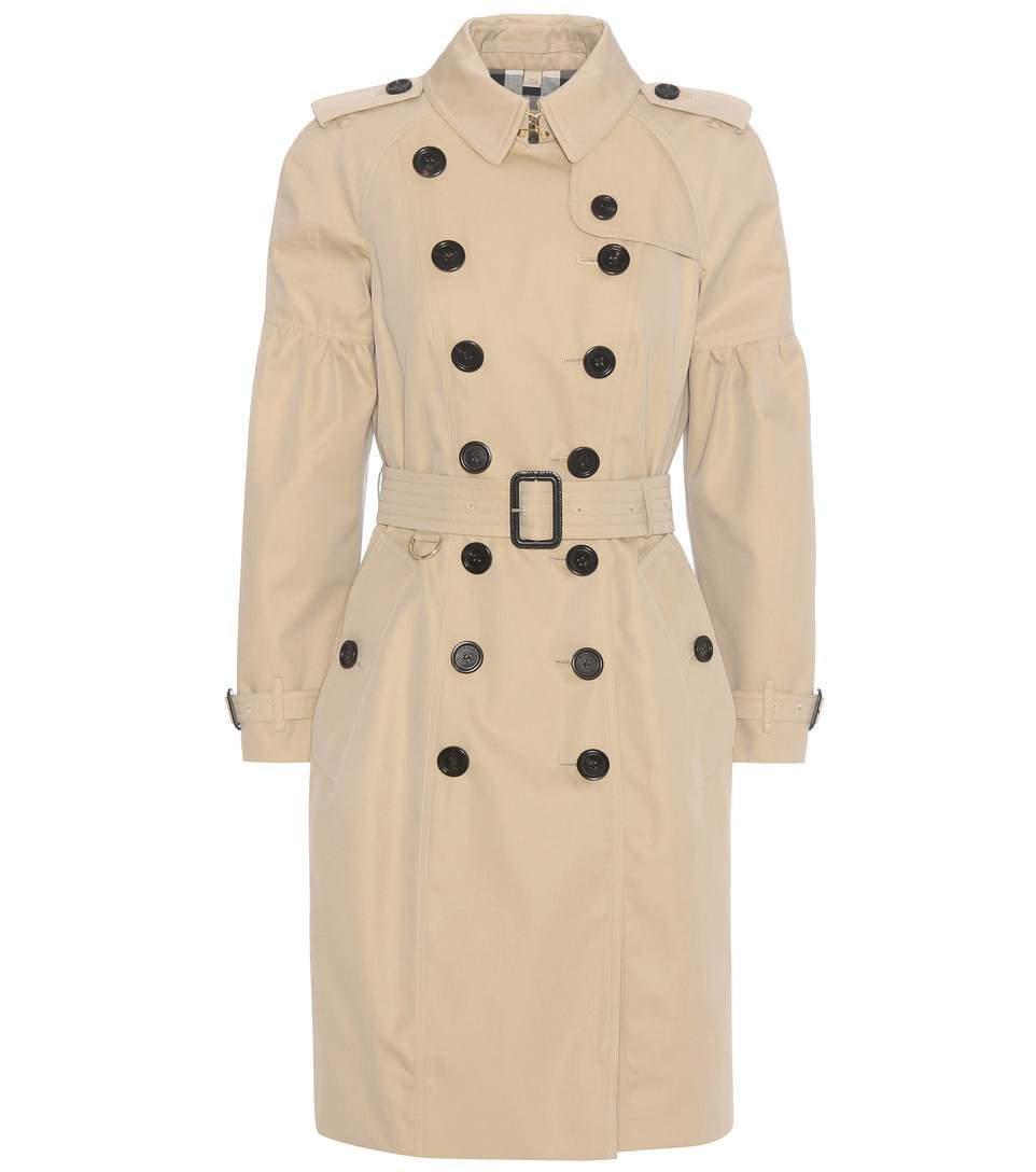 COTTON GABARDINE TRENCH COAT WITH PUFF SLEEVES