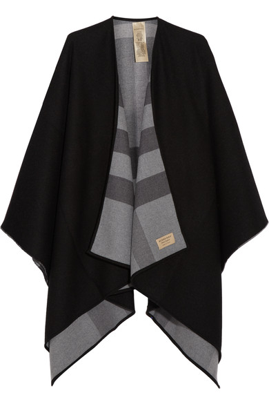 CHARLOTTE REVERSIBLE SOLID TO CHECK WOOL CAPE