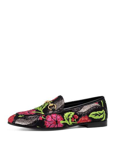 Jordaan horsebit-detailed leather-trimmed metallic floral-brocade loafers