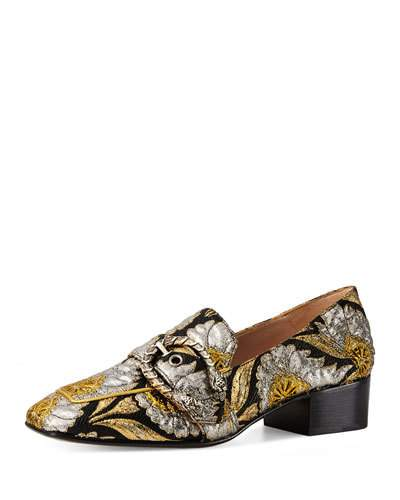 DIONYSUS BROCADE 35MM LOAFER, BROWN/ORO/NERO