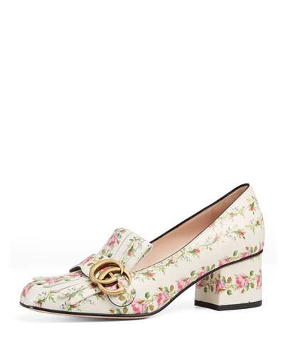 Marmont GG  Kiltie Rose-Print Leather Loafers