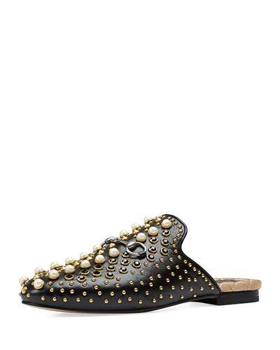 Princetown embellished leather backless loafers