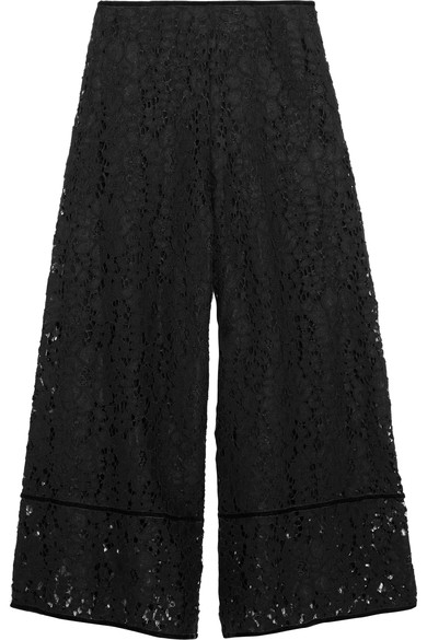 See By Chloé Downs Velvet-trimmed corded lace culottes