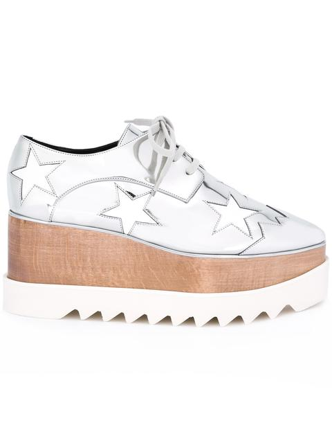 Elyse Stars Metallic Platform Shoes in Silver