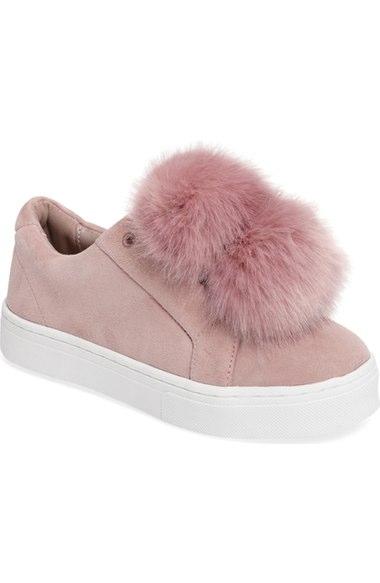 Sam Edelman Suedes 'Leya' Faux Fur Laceless Sneaker (Women)