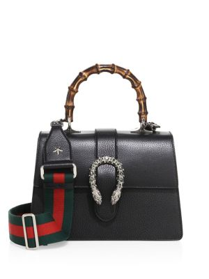MEDIUM DIONYSUS LEATHER TOP HANDLE SATCHEL - BLACK