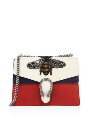 Women's Dionysus Crystal Embellished Bee Crossbody Bag in Red, White and Navy