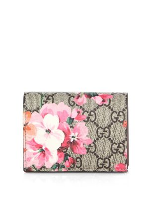 BLOOMS PRINTED GG SUPREME CARD CASE, PINK