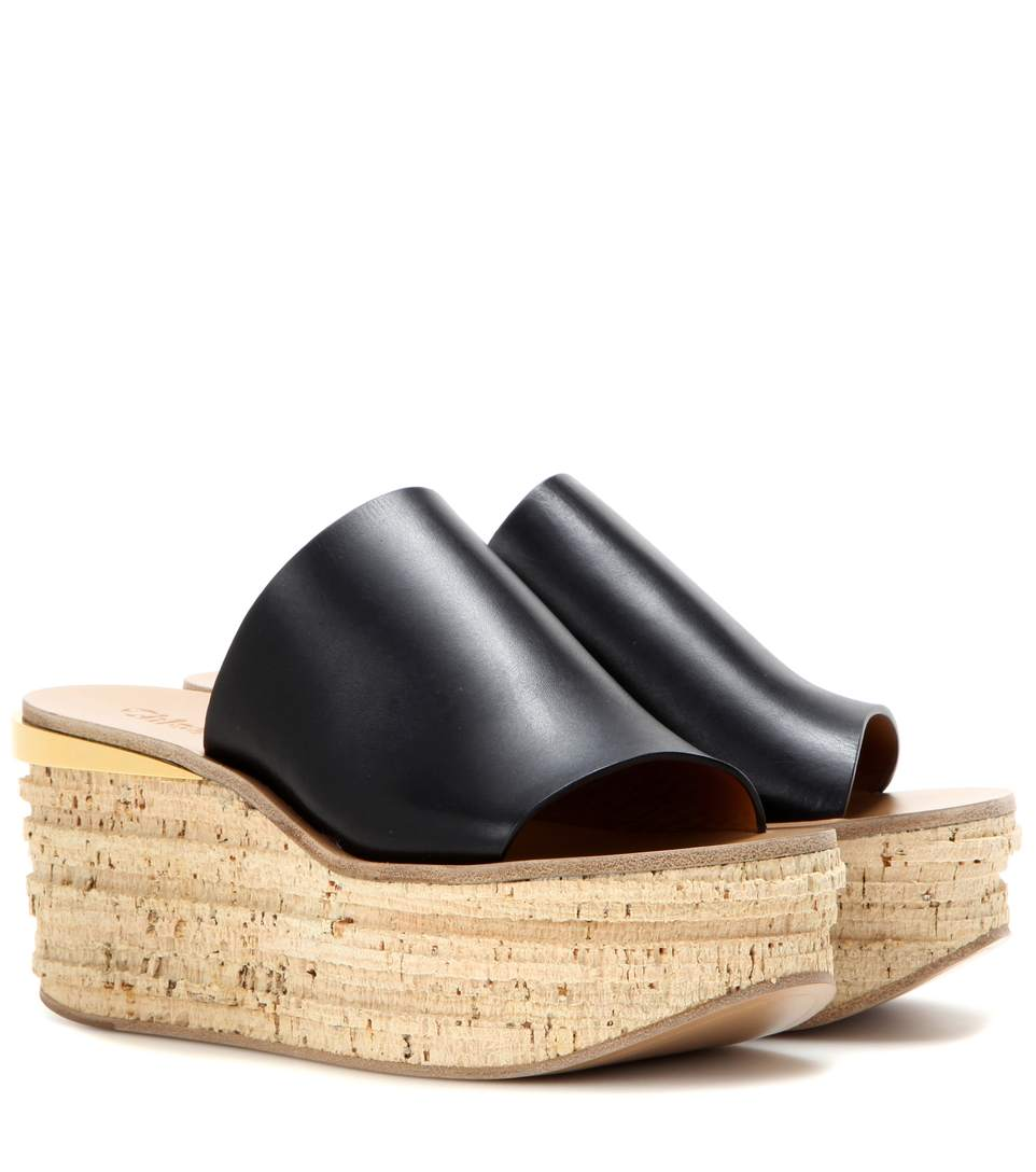 Chloé Leathers Leather and cork wedges