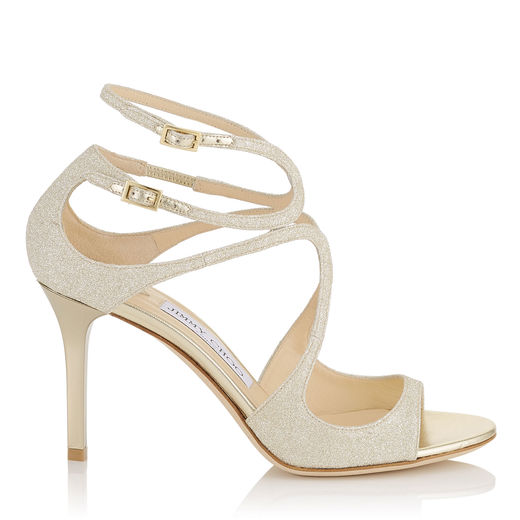 e56a385c06fe Jimmy Choo Ivette Champagne Glitter Leather Strappy Sandals In Yellow