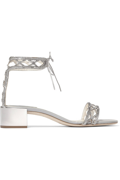 René Caovilla Crystals Crystal-embellished satin sandals