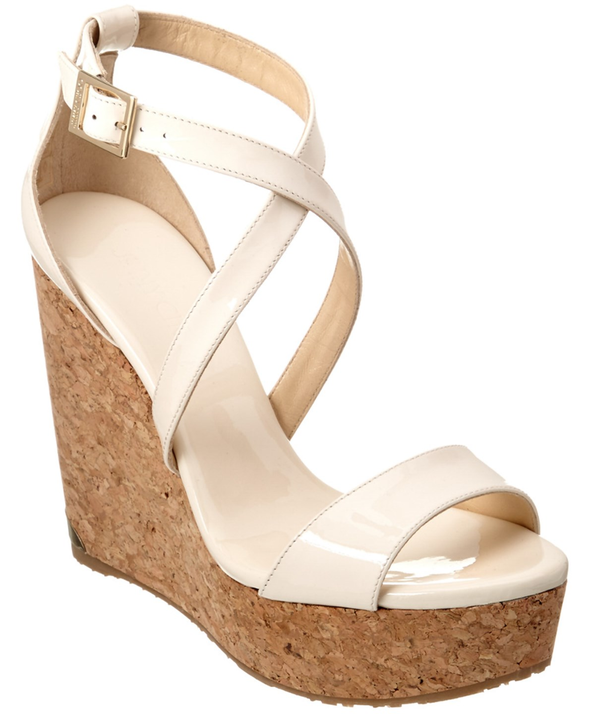JIMMY CHOO PORTIA 120 PATENT CORK WEDGE SANDAL