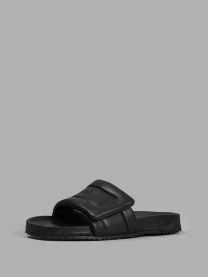 NEW FUTURE LEATHER SLIDE SANDALS, BLACK