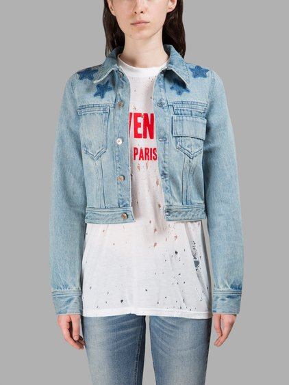 star print bleached denim jacket