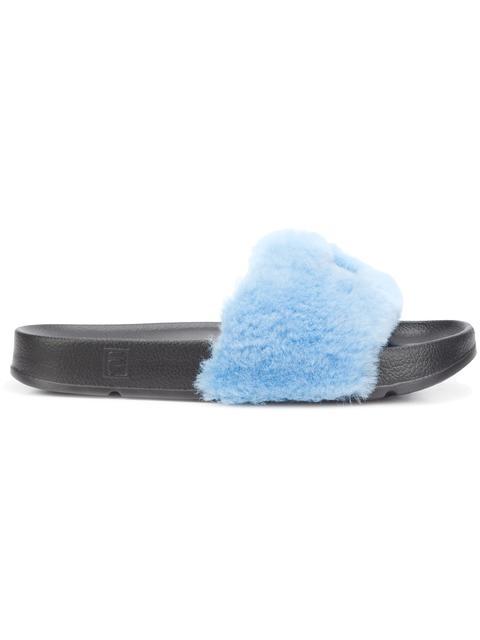 Blue Fila Edition Shearling Drifter Slides