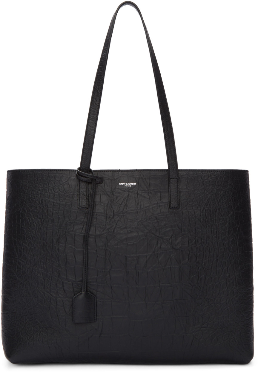 Black Croc-Embossed Large Shopping Tote Bag