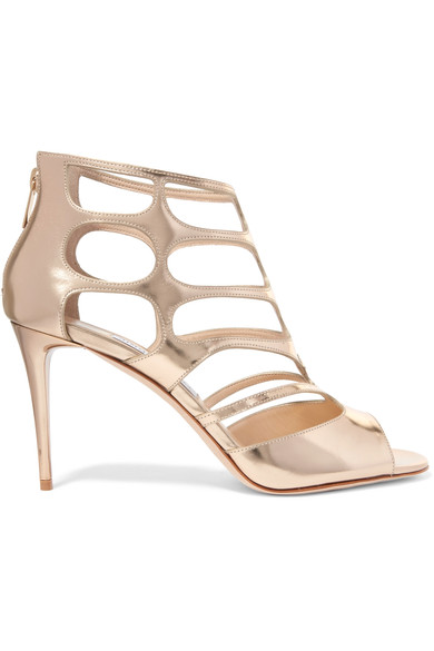 Jimmy Choo Leathers Ren cutout mirrored-leather sandals