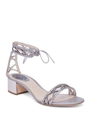 René Caovilla Crystals Crystal & Suede Ankle-Tie Block-Heel Sandals