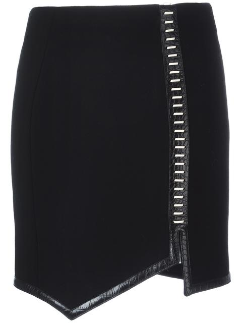 MUGLER LEATHER-TRIMMED WOOL MINI SKIRT, BLACK