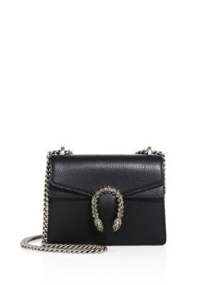 DIONYSUS MINI TEXTURED-LEATHER SHOULDER BAG