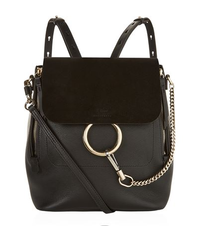 CHLOÉ Faye Medium Textured-Leather And Suede Backpack