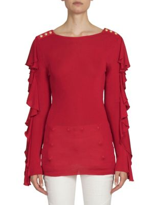 Button-Detail Ruffle-Sleeves Top