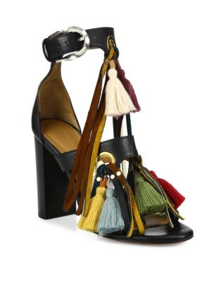 Chloé Leathers Miki Tassel Leather Block-Heel Sandals