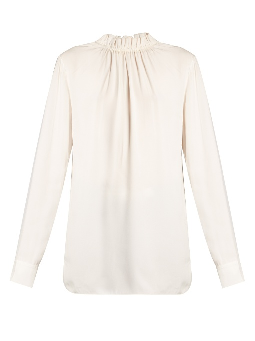 Marni Blouses Buttoned-back ruffled-neck crepe blouse