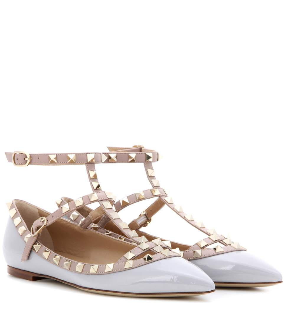 valentino garavani rockstud patent leather ballerinas pastel grey modesens. Black Bedroom Furniture Sets. Home Design Ideas