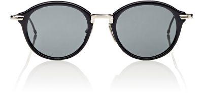 Gold-Rimmed Matte Frame Sunglasses in Black