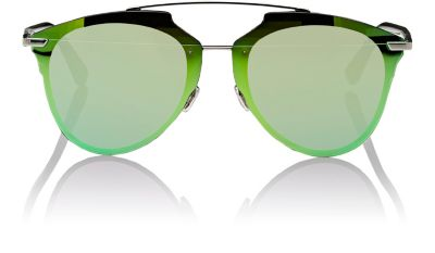 REFLECTED PRISM 63MM OVERSIZE MIRRORED BROW BAR SUNGLASSES - DARK RUTHENIUM/ GREEN