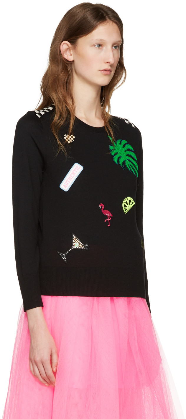 Marc Jacobs Wools Black Embroidered Wool Pullover