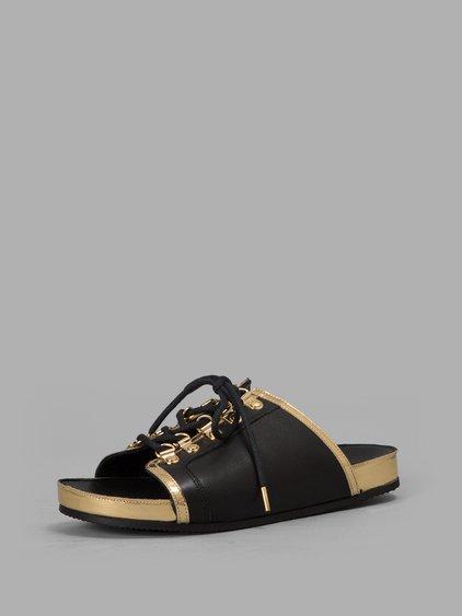 Balmain Leathers BLACK/GOLD SANDALS