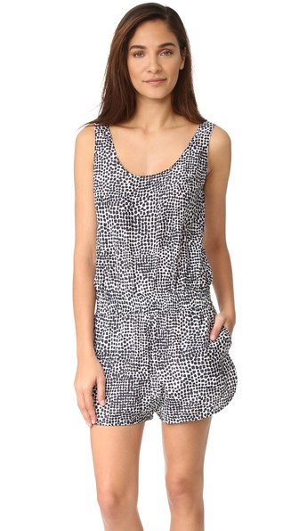 MIXED ANIMAL AND ELASTIC ALL-IN-ONE ROMPER COVER-UP