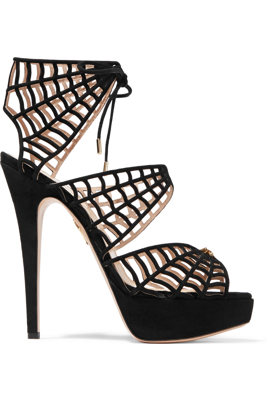 CHARLOTTE OLYMPIA Caught In Charlotte'S Web Embellished Lace-Up Suede Sandals