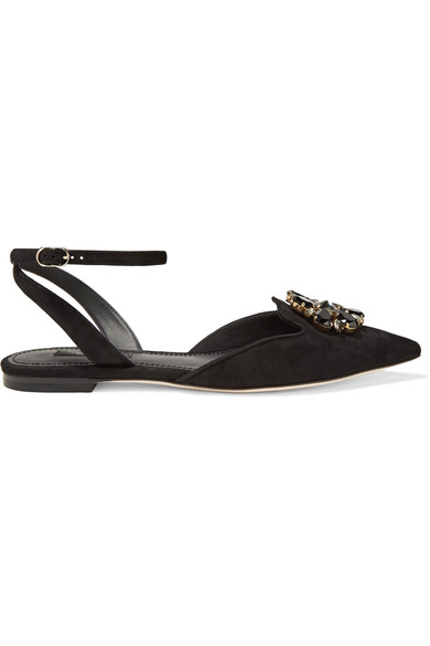 WOMAN BELLUCCI CRYSTAL-EMBELLISHED SUEDE POINT-TOE FLATS BLACK
