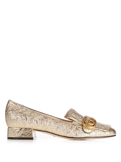 Marmont fringed logo-embellished metallic cracked-leather loafers