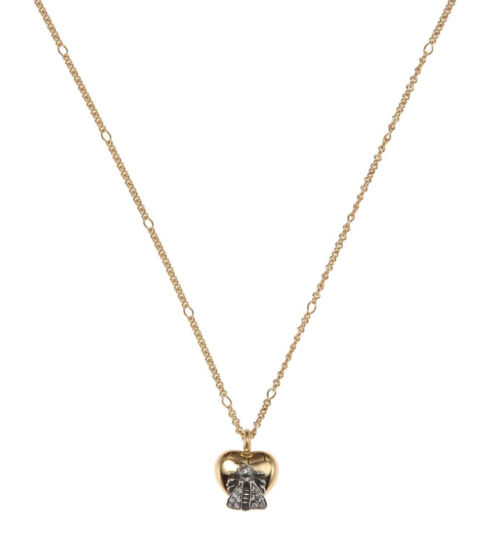 STERLING SILVER AND 18K YELLOW GOLD LE MARCHE DES MERVEILLES PENDANT NECKLACE WITH GRAY DIAMONDS, 17