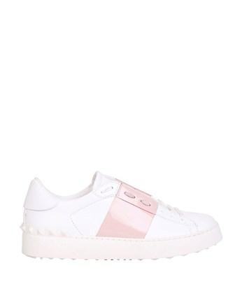 VALENTINO Open Leather Sneakers With Patent Band, White/Pink