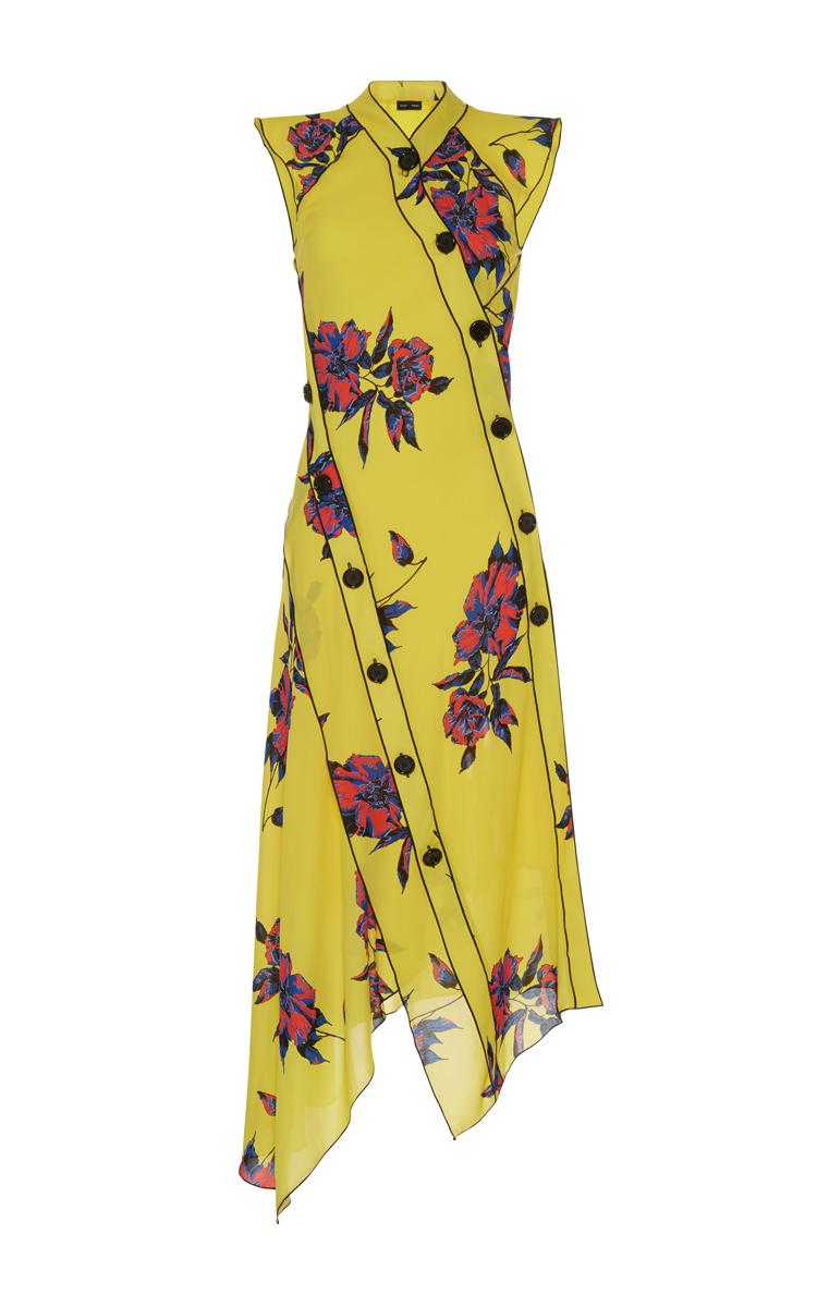 Proenza Schouler Silks Asymmetrical Floral Dress