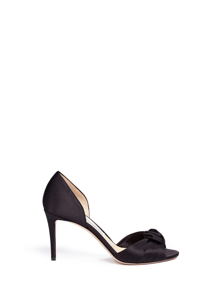 Jimmy Choo Leathers 'Kitty 85' knotted bow satin d'Orsay sandals