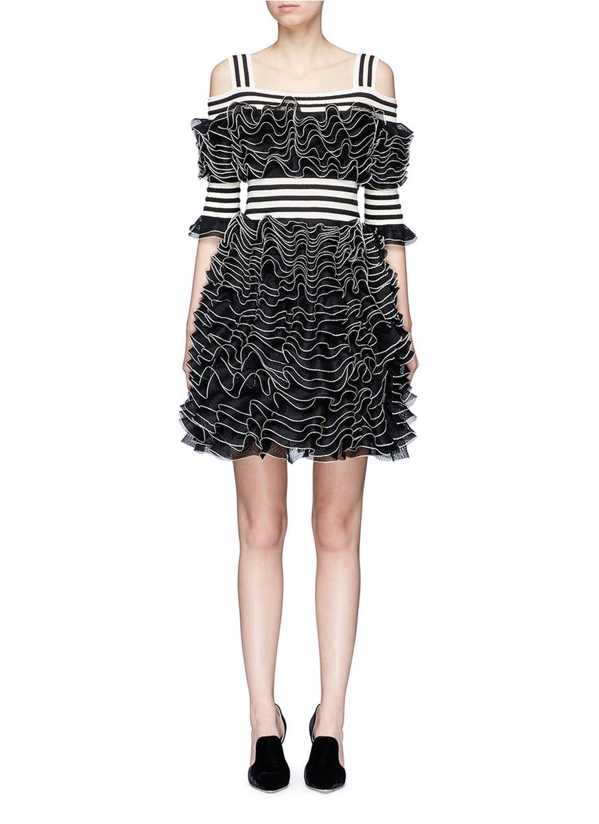 Alexander Mcqueen Knits Stripe panel ruffled mesh knit cold shoulder dress