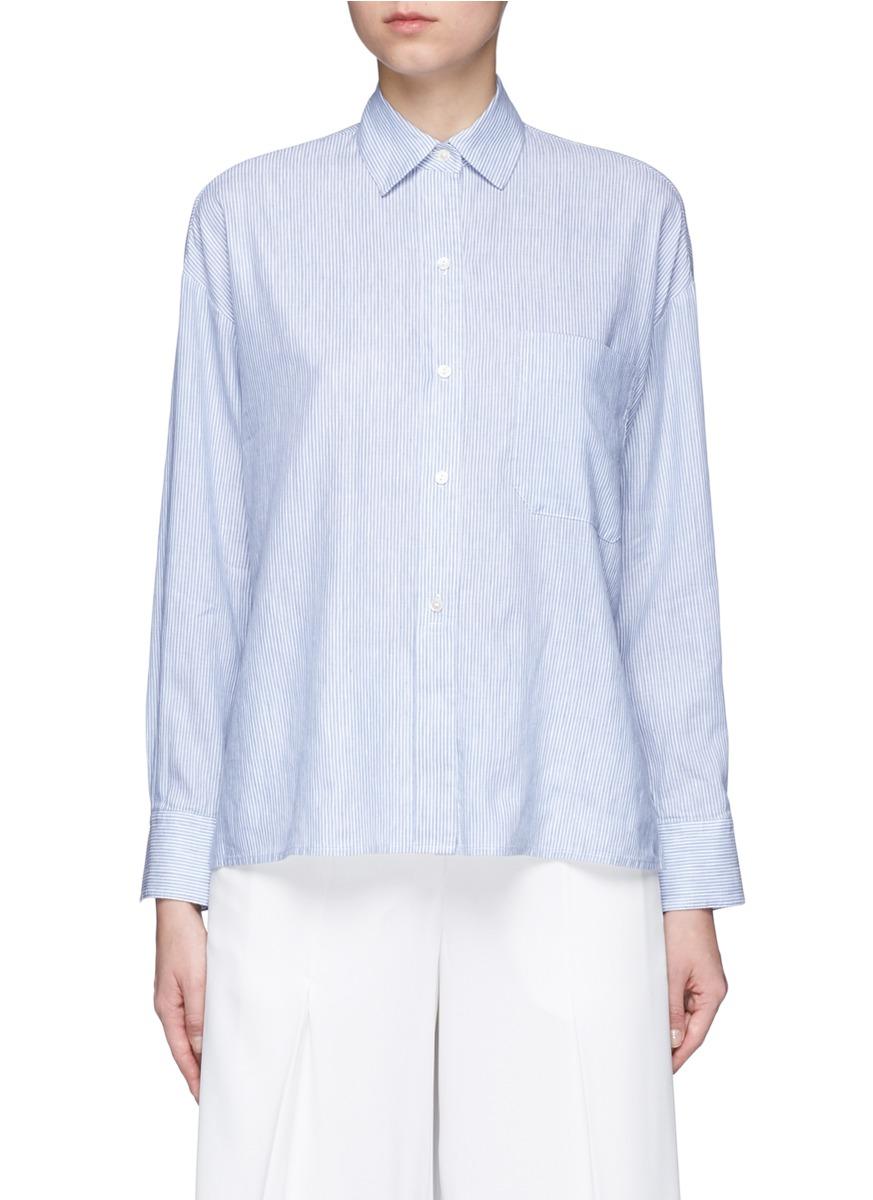 Vince Cottons Stripe cotton-linen shirt