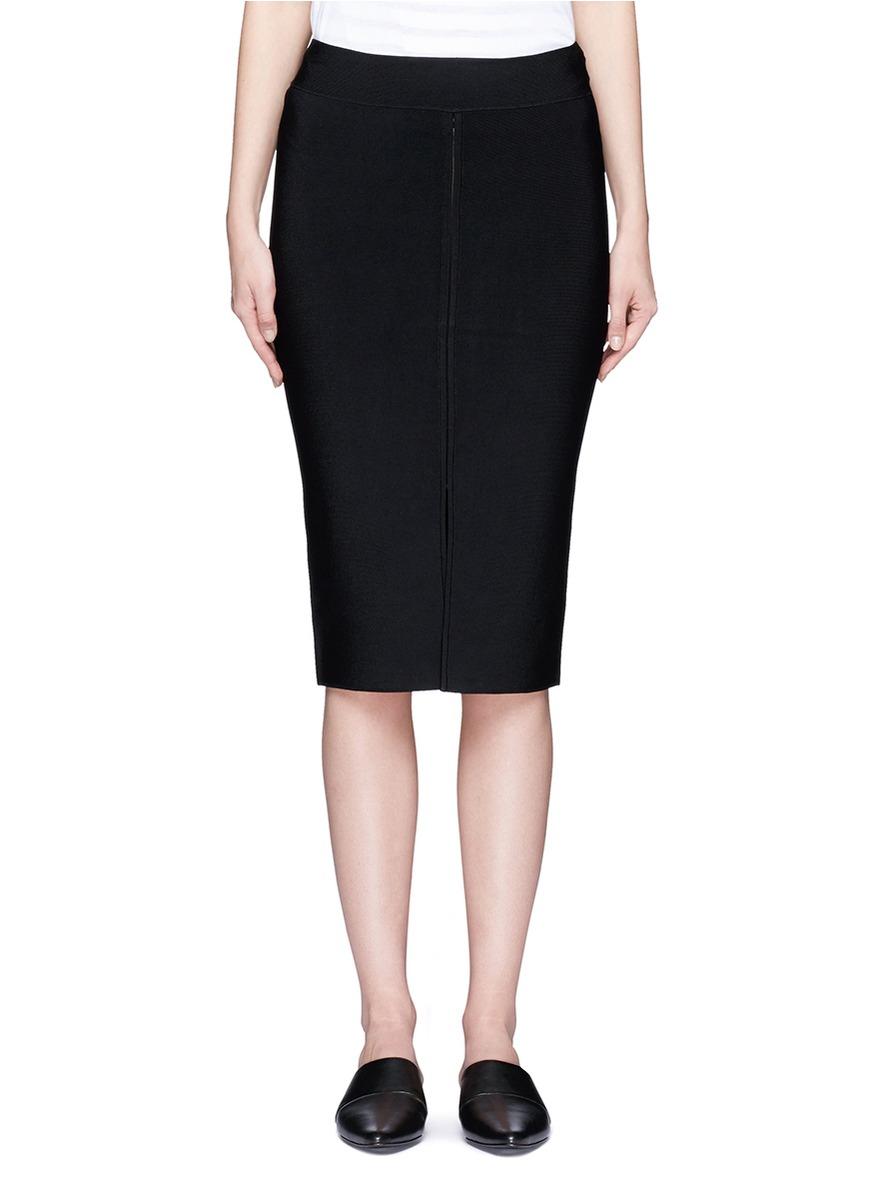 Slit front rib knit pencil skirt