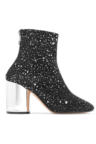 Metallic leather-trimmed glittered canvas ankle boots
