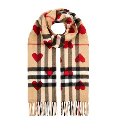 HEART PRINT GIANT CHECK REVERSIBLE CASHMERE SCARF