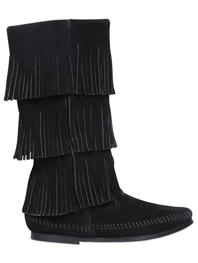 Layered Fringe Suede Boots