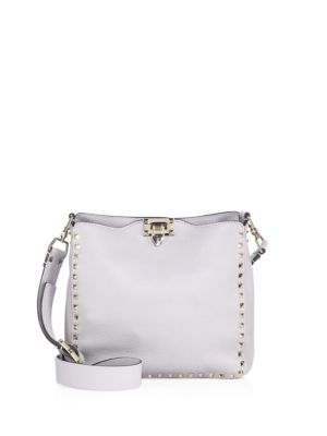 ROCKSTUD MINI HOBO CROSSBODY BAG - GREY
